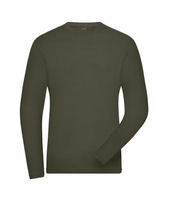 Herren Men's BIO Stretch-Longsleeve Work - SOLID - Olive 8705