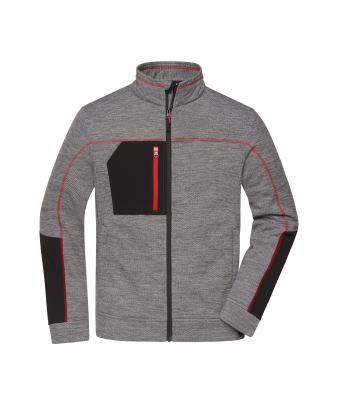 Herren Men's Structure Fleece Jacket Carbon-melange/black/red 10436