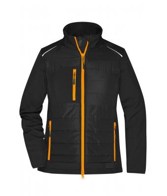 Damen Ladies' Hybrid Jacket Black/neon-orange 10438