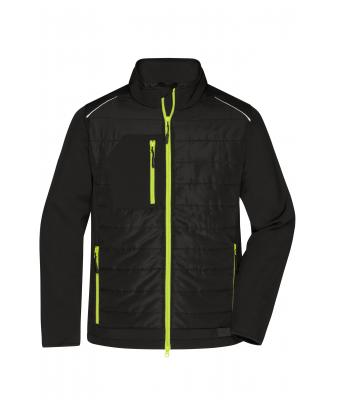 Herren Men's Hybrid Jacket Black/neon-yellow 10440