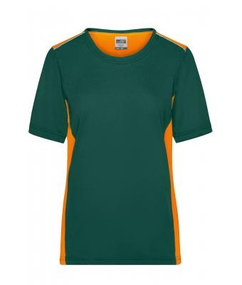 Damen Ladies' Workwear T-Shirt - COLOR - Dark-green/orange 8534