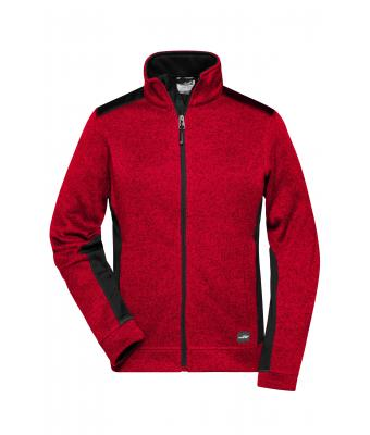 Ladies Ladies' Knitted Workwear Fleece Jacket - STRONG - Red-melange/black 8536