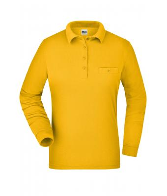 Damen Ladies' Workwear Polo Pocket Longsleeve Gold-yellow 8539