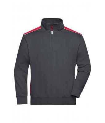 Unisex Workwear Half-Zip Sweat - COLOR - Carbon/red 8542