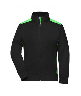 Ladies Ladies' Workwear Sweat Jacket - COLOR - Black/lime-green 8543