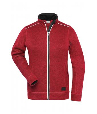 Ladies Ladies' Knitted Workwear Fleece Jacket - SOLID - Red-melange/black 10221