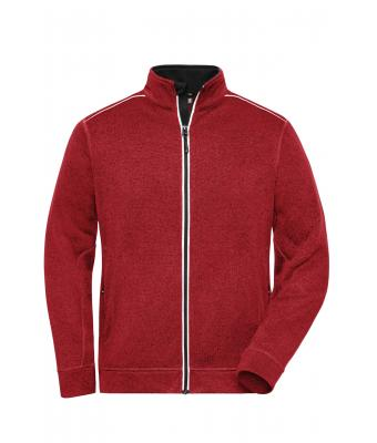 Herren Men's Knitted Workwear Fleece Jacket - SOLID - Red-melange/black 10222