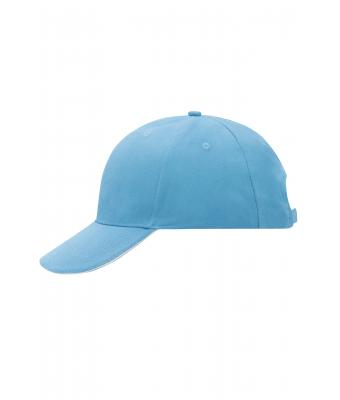 Unisex 6 Panel Sandwich Cap Light-blue/white 7590