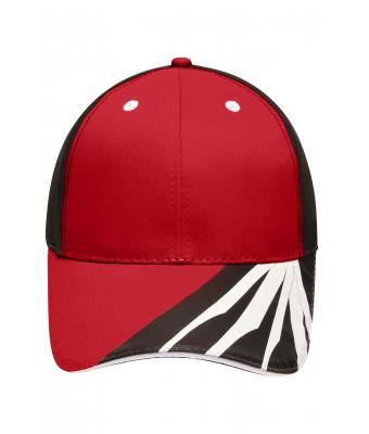 Unisex 6 Panel Craftsmen Cap - STRONG - Red/black/white 8146